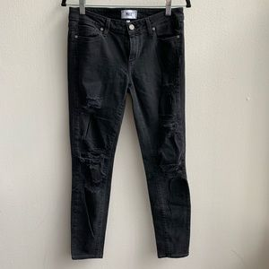 Paige Black Distressed Verdugo Ultra Skinny Jeans